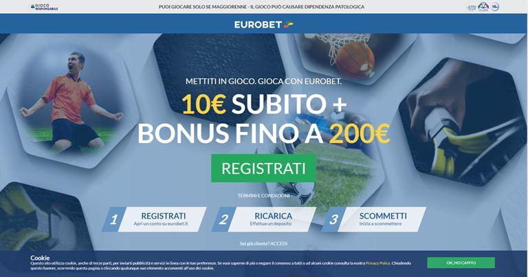 Eurobet Bonus Benvenuto Scommesse