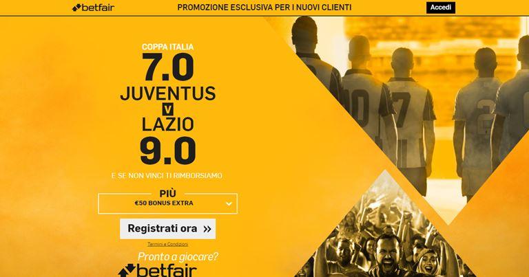 Betfair Quota Maggiorata Juventus-Lazio