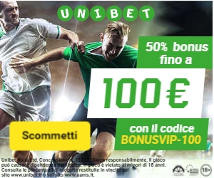 Il bonus di benvenuto di Unibet in Bonusvip