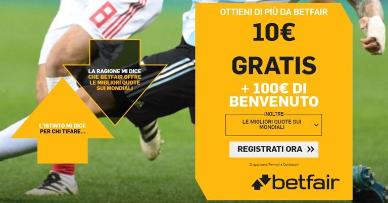 Betfair - Bonus Sport Mondiali 2018