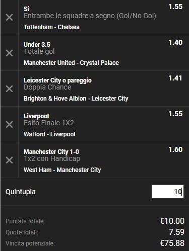 Schedina Premier League 24-11-2018