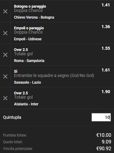 Schedina Serie A 11-11-2018