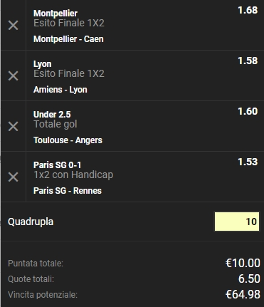 Schedina Ligue 1 27-01-2019