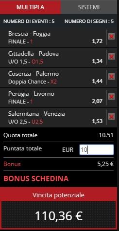 Schedina Serie B 30-03-2019_